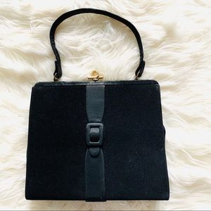 Vintage velvet & satin black purse gold accent